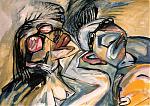 Zonnebaders. acryl/papier 60-80 1998
