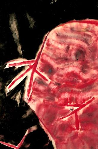 Met rood hoofd. acryl/papier. 80-100. 1991