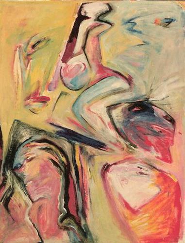 fietstocht. acryl/papier 50-60.1990