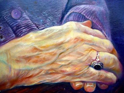 De handen van Willie's moeder. olieverf. 9,5-30 2007