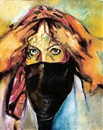 de geheimzinnige.olieverf. (serie 9 zelfportretten) 30-40 1993