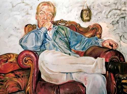 Kees van de Toren. olieverf.80-100.(serie Winkeliers Voorstraat noord)1995