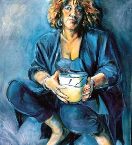 Zelfportret met vaas.olieverf op linnen.90-100. 1992