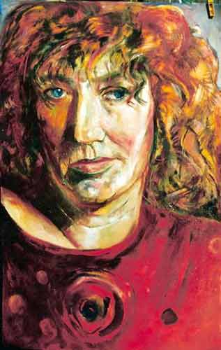 zelfportret op papier. acryl 50-60 1995