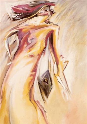 Vrouw-in-regenjas.-gouache-50-60--1985