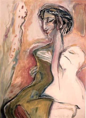 Man-die-een-vrouw-optilt.-Gouache-60-80-1985