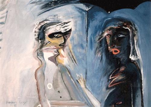 Man,vrouw-en-parapluie.gemengde-techniek.-60-80-,1985