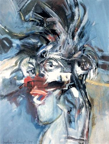 Vrouw-met-opwaaiend-haar.--gouache-60-80-1985