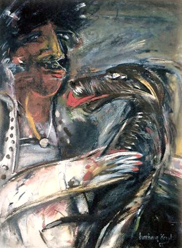 Vrouw-en-hond..-gouache-60-80-1985