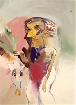 Vrouw-die-een-paard-streelt-.-gouache.50-65-1985