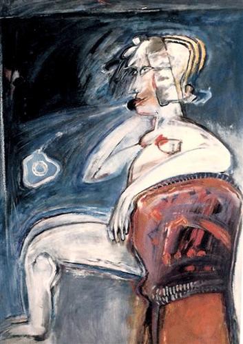 Vrouw-en-telefoon.-gouache-60-80-1985