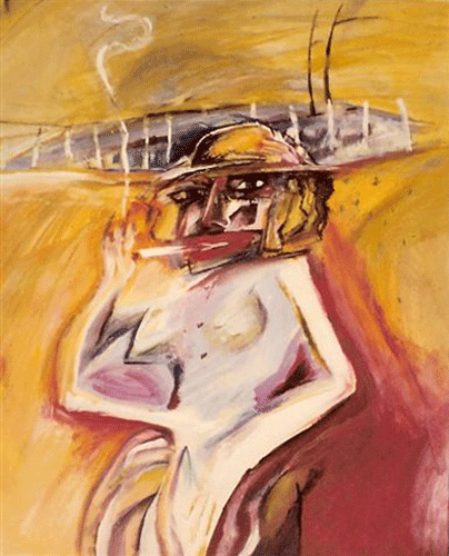 Vrouw-die-buiten-rookt.-gouache.-50-65-1985