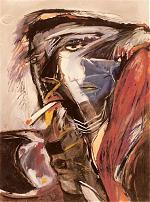 Rookster.Gouache--maat-onbekend---1985