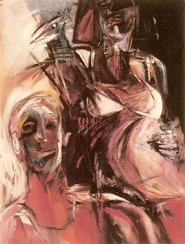 Man-vrouw-en-vogel.--gouache-60-80-1985