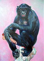 Blue monkey.olieverf/linnen.70-100. 2004